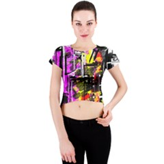Abstract City View Crew Neck Crop Top