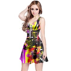 Abstract City View Reversible Sleeveless Dresses