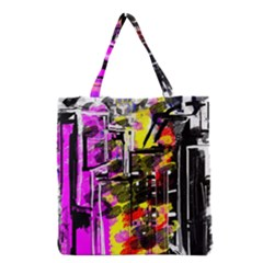 Abstract City View Grocery Tote Bags