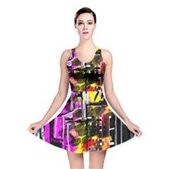 Abstract City View Reversible Skater Dresses