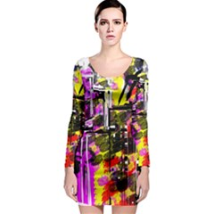 Abstract City View Long Sleeve Bodycon Dresses