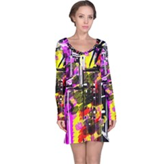 Abstract City View Long Sleeve Nightdresses