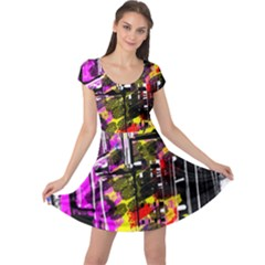 Abstract City View Cap Sleeve Dresses