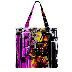 Abstract City View Zipper Grocery Tote Bags