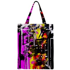 Abstract City View Zipper Classic Tote Bags