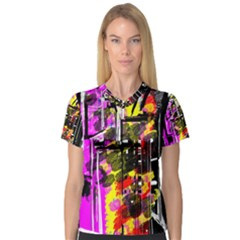 Abstract City View Women s V-Neck Sport Mesh Tee