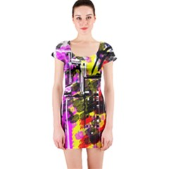 Abstract City View Short Sleeve Bodycon Dresses