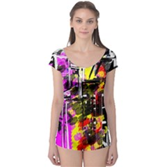 Abstract City View Short Sleeve Leotard