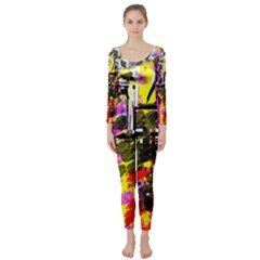 Abstract City View Long Sleeve Catsuit