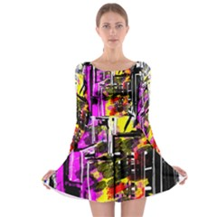 Abstract City View Long Sleeve Skater Dress