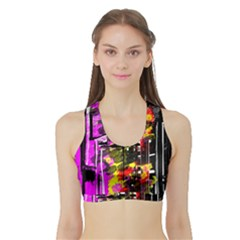 Abstract City View Women s Sports Bra with Border