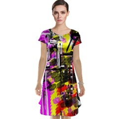 Abstract City View Cap Sleeve Nightdresses
