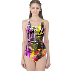 Abstract City View Women s One Piece Swimsuits