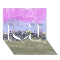 Abstract Garden in Pastel Colors I Love You 3D Greeting Card (7x5)