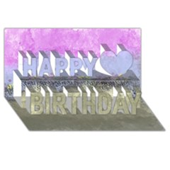 Abstract Garden in Pastel Colors Happy Birthday 3D Greeting Card (8x4)