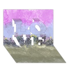 Abstract Garden in Pastel Colors LOVE 3D Greeting Card (7x5)