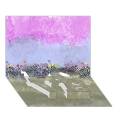 Abstract Garden in Pastel Colors LOVE Bottom 3D Greeting Card (7x5)