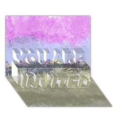 Abstract Garden In Pastel Colors You Are Invited 3d Greeting Card (7x5)