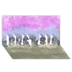 Abstract Garden in Pastel Colors BEST SIS 3D Greeting Card (8x4)