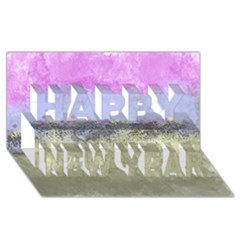 Abstract Garden in Pastel Colors Happy New Year 3D Greeting Card (8x4)