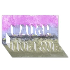 Abstract Garden in Pastel Colors Laugh Live Love 3D Greeting Card (8x4)
