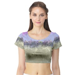 Abstract Garden in Pastel Colors Short Sleeve Crop Top