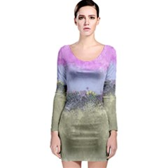 Abstract Garden in Pastel Colors Long Sleeve Bodycon Dresses
