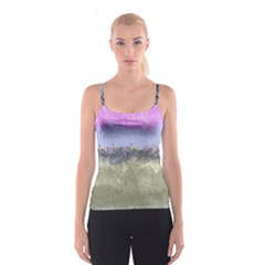Abstract Garden in Pastel Colors Spaghetti Strap Tops
