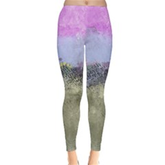 Abstract Garden in Pastel Colors Winter Leggings