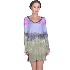 Abstract Garden In Pastel Colors Long Sleeve Nightdresses