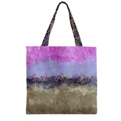 Abstract Garden in Pastel Colors Zipper Grocery Tote Bags