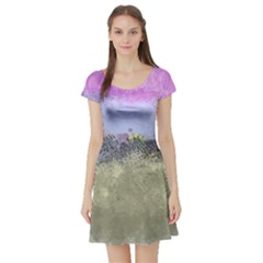 Abstract Garden in Pastel Colors Short Sleeve Skater Dresses