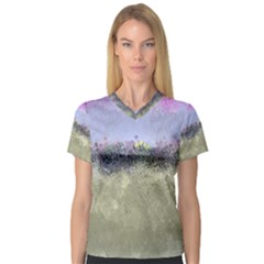 Abstract Garden In Pastel Colors Women s V Neck Sport Mesh Tee