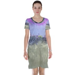 Abstract Garden in Pastel Colors Short Sleeve Nightdresses