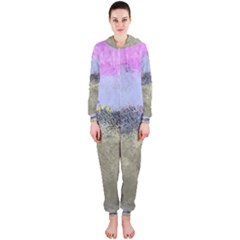 Abstract Garden in Pastel Colors Hooded Jumpsuit (Ladies)