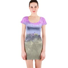 Abstract Garden In Pastel Colors Short Sleeve Bodycon Dresses