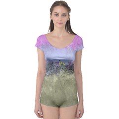 Abstract Garden In Pastel Colors Short Sleeve Leotard