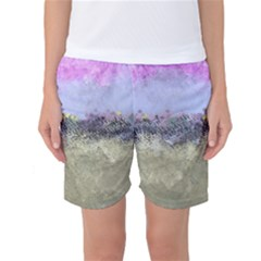 Abstract Garden in Pastel Colors Women s Basketball Shorts