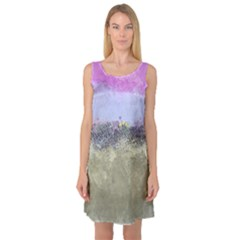 Abstract Garden in Pastel Colors Sleeveless Satin Nightdresses