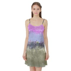 Abstract Garden in Pastel Colors Satin Night Slip