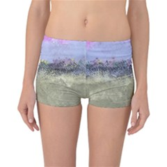 Abstract Garden in Pastel Colors Reversible Boyleg Bikini Bottoms