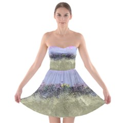 Abstract Garden In Pastel Colors Strapless Bra Top Dress