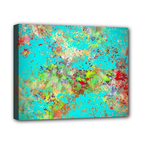Abstract Garden In Aqua Canvas 10  X 8
