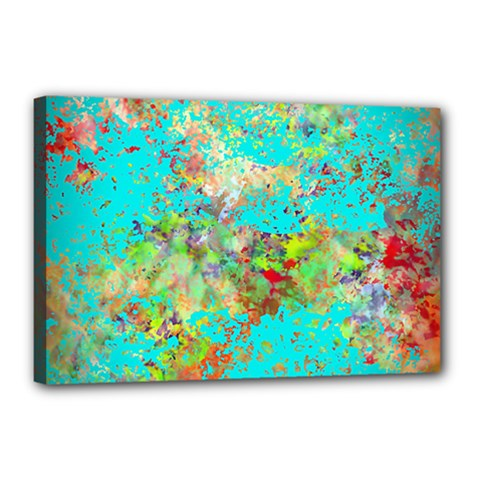 Abstract Garden in Aqua Canvas 18  x 12