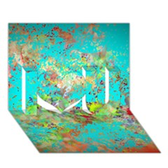 Abstract Garden in Aqua I Love You 3D Greeting Card (7x5)