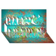 Abstract Garden in Aqua Happy Birthday 3D Greeting Card (8x4)
