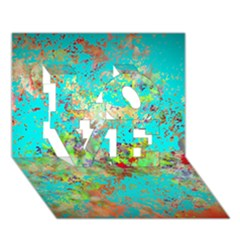 Abstract Garden In Aqua Love 3d Greeting Card (7x5)