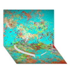 Abstract Garden In Aqua Heart Bottom 3d Greeting Card (7x5)