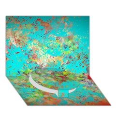 Abstract Garden in Aqua Circle Bottom 3D Greeting Card (7x5)