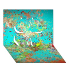 Abstract Garden in Aqua Clover 3D Greeting Card (7x5)